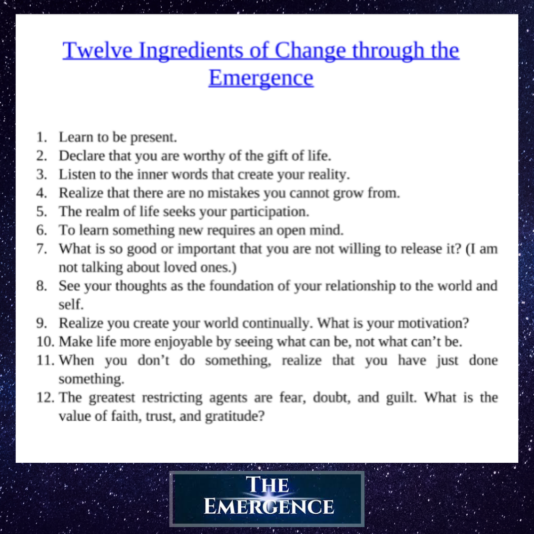 """""""The Twelve Ingredients of Change"""" - from The Emergence by Howard A. Cooper"""